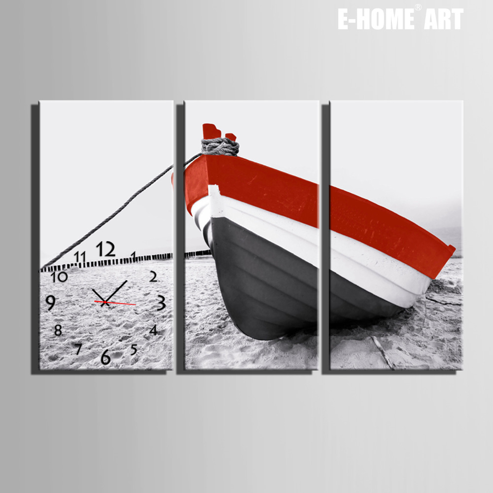 Free Shipping E-HOME Sitting on The Wooden Beach Clock in Canvas 3pcs wall clockFree Shipping E-HOME Sitting on The Wooden Beach Clock in Canvas 3pcs wall clock