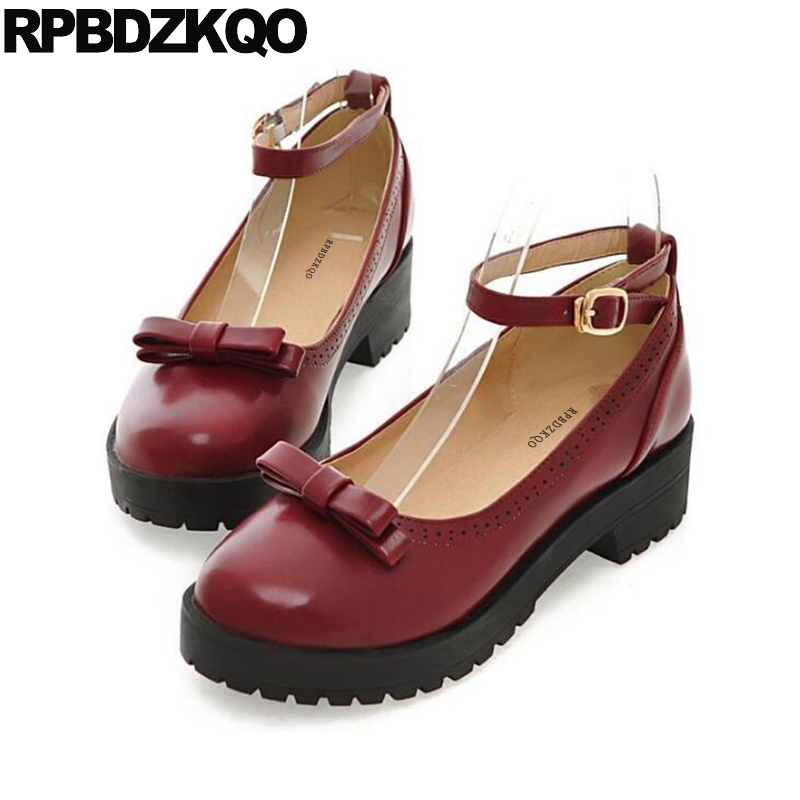Zapatos Vino Rojo Con De Redonda 43 Mujeres Moño 11 Tacones Punta wXZukPOiT