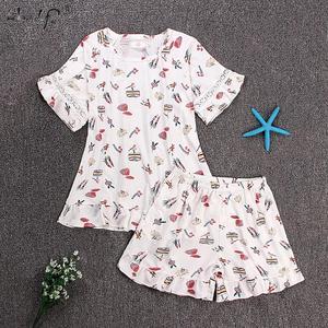 Image 4 - Flamingo Print Zomer Korte Pyjama Sets Voor Vrouwen Mode Ruches Print Shorts Nachtkleding Pyjama Homewear Pijama Mujer Kleding