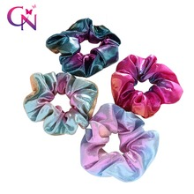 New Women Shiny Fabric Gradient color Laser Hair Scrunchies Girls Punk Style HairBands Holder Gum For