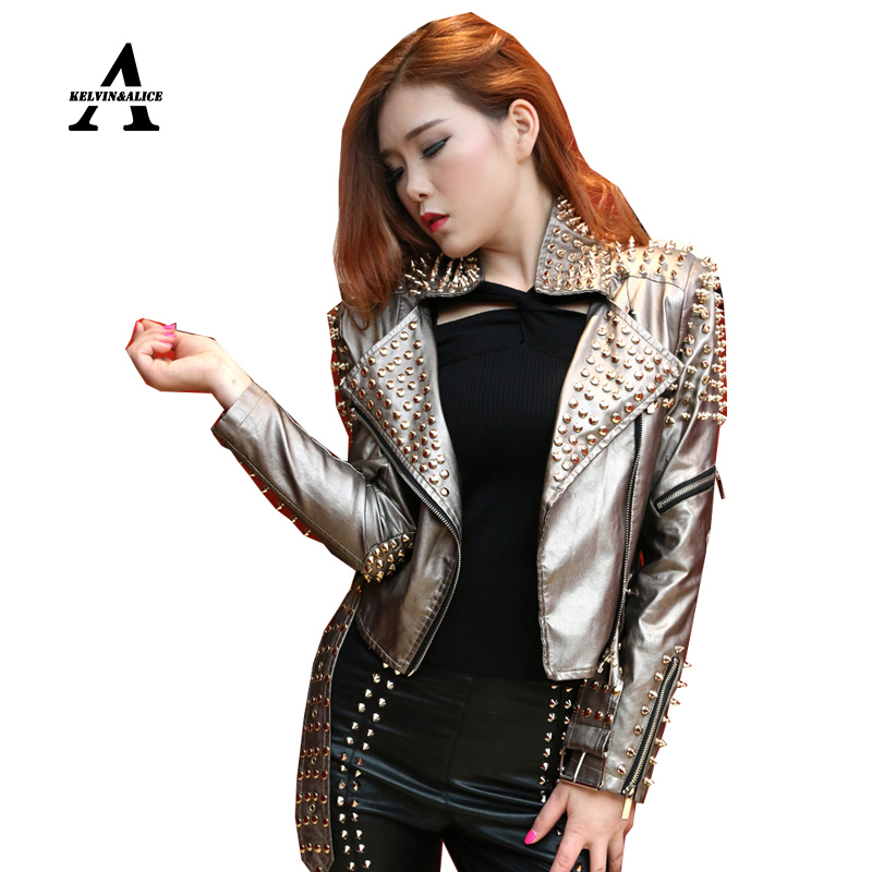 Leather Jacket Women Punk 1200 Rivets Studded Grey Motorcycle Spiked PU Streetwear Jackets Cazadora Cuero Mujer Veste Cuir Femme