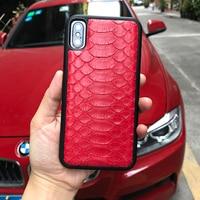 Luxury Genuine Python Skin Snake Design custom name Leather Case For iPhone 7 X SE Case 3D Snake Skin Pattern Phone Case