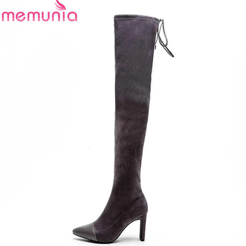 цена на MEMUNIA 2018 newest sexy thigh high over the knee boots women pointed toe genuine leather boots fashion thin heels prom shoes