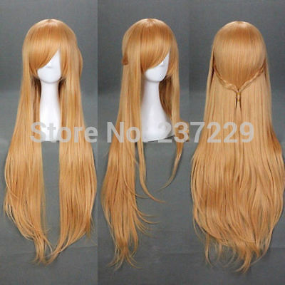 Wholesale price FREE p&P*******Light Brown Sword Art Online Asuna Yuuki Anime Cosplay Wig