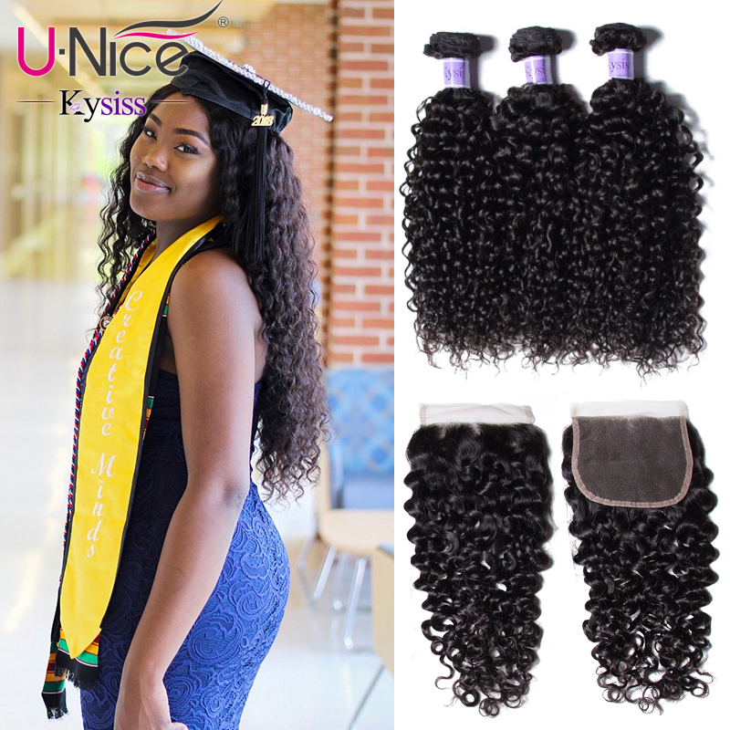 UNice Hair Kysiss Series Indian Kinky Curly Human Hair 3 Bundles with Lace Closure 8 26