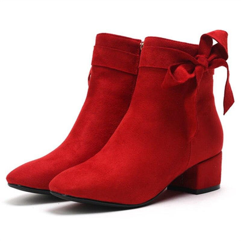 Rouge Automne Carré Talons Nouvelle Arrivée Hauts Bout De Bottes Chaussures Zip Bal Cheville À Pour Hiver 2018 Smeeroon Femmes yv6mIYb7fg