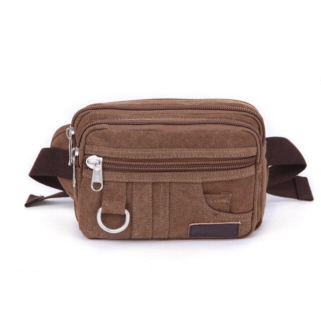 Новое прибытие высокого качества холст досуг талия пакеты небольшой ремень сумки портативный молния поясные сумки 3 цветов для мужчин и женщин bolsas