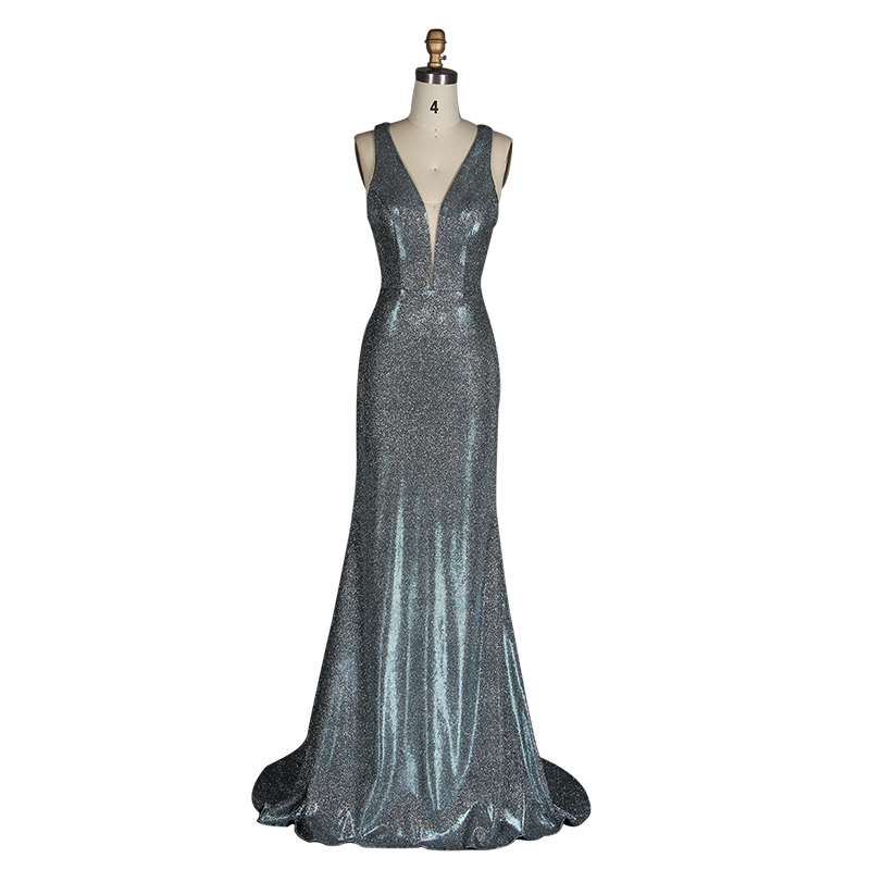 2019 New High Quality Women'S Sexy V-Neck Long Evening Dress Party Female Sensual Long Deep V-Neck Sleeveless Long Evening Dress