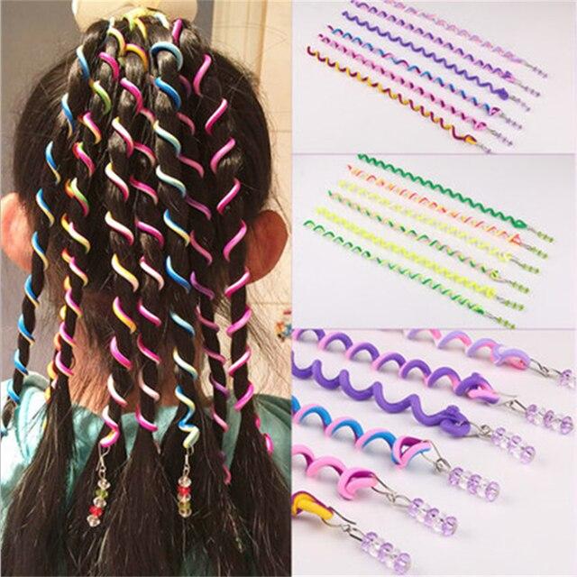 6 unids/lote Color arcoíris Cute Girl rizador pelo trenza pelo estilismo herramientas rodillo pelo trenza mantenimiento la princesa accesorio de pelo