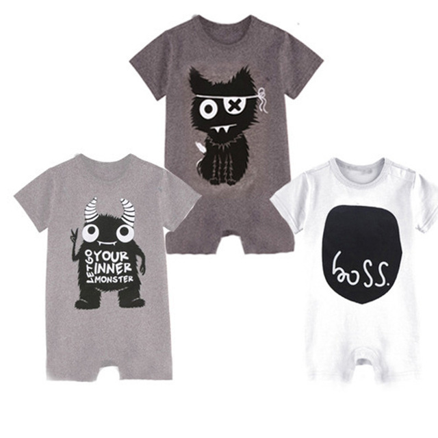 cc405771320e Newborn Baby Boy Rompers Little Monsters Baby Boy Clothes One Piece ...