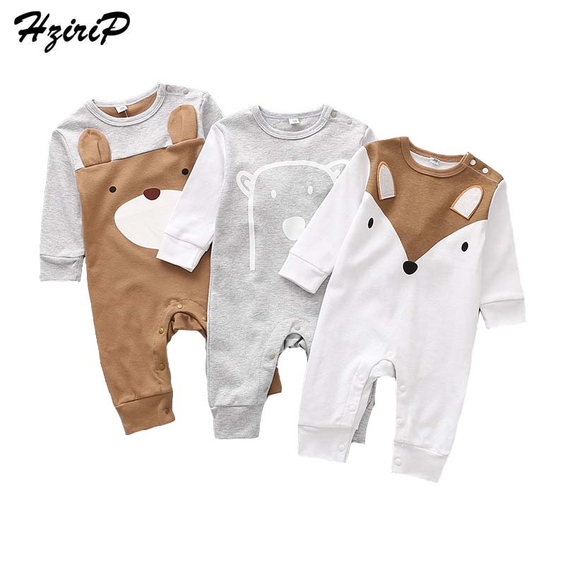 HziriP Toddler Baby Rompers New 2017 Autumn Casual Cartoon Fox Bear Long-sleeved Cotton Jumpsuit Newborn Girls Boys Clothing cotton baby rompers set newborn clothes baby clothing boys girls cartoon jumpsuits long sleeve overalls coveralls autumn winter
