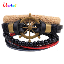 Leather bracelet 4pcs/set fashion jewelry lovers charm Rudder bracelet female men anchor bracelet Love bracelets for women