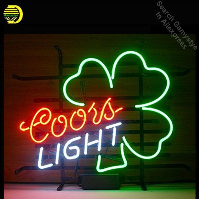 Coors lumière Shamrock néon signe vrais Tubes de verre néon lumière signe bière Bar Pub signe Excellent Unique artisanat personnalisé néon lumières