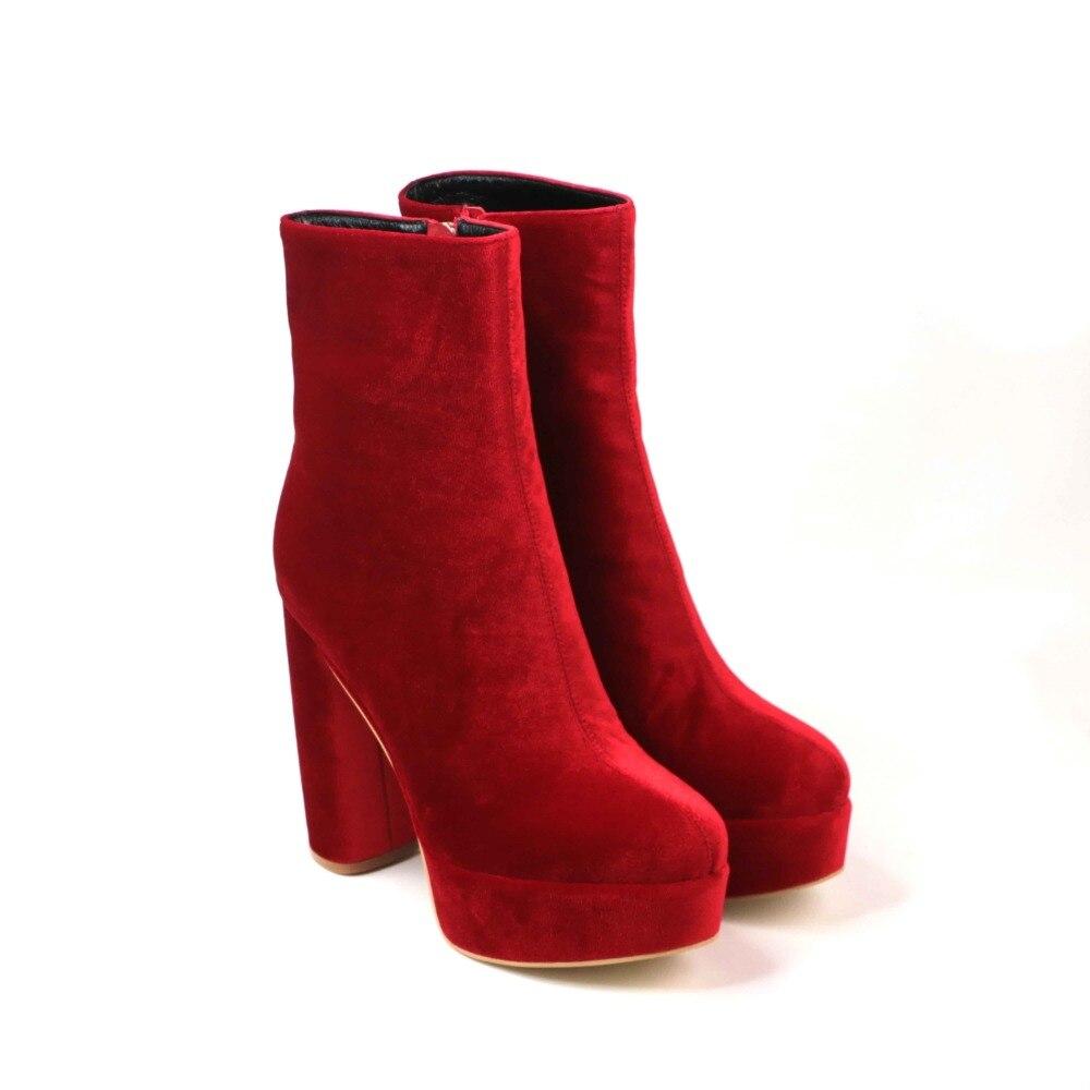 a3e8461c0 Mujer Pie Tacón Del Dedo Invierno Plataforma Terciopelo Zapatos Para  Tobillo Botas Red Moda Redondo purple Grueso ...