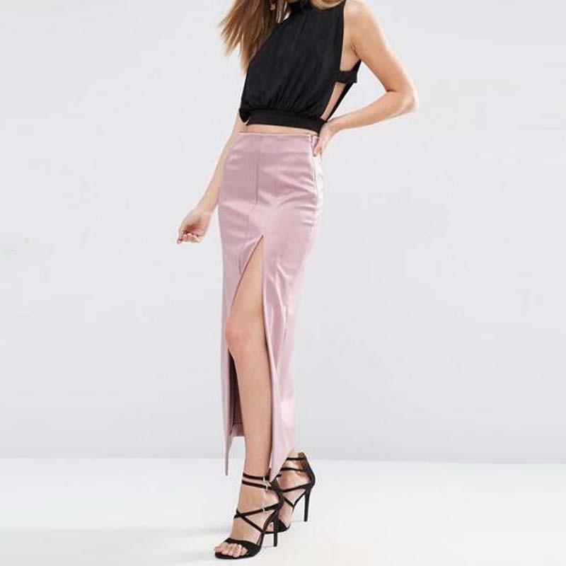 2017 Alta Estilo Por Straight Señora De Rosado Maxi Encargo Split Zipper Calidad Tobillo Sexy Falda Lado Satén rwrI7Sqv