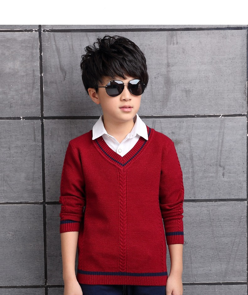 HTB1AZHSOXXXXXcKXpXXq6xXFXXXO - 2017 Children's sweater Winter new  Keep warm Cashmere boy sweater V-collar Kids for boys Children's clothing Winter clothing