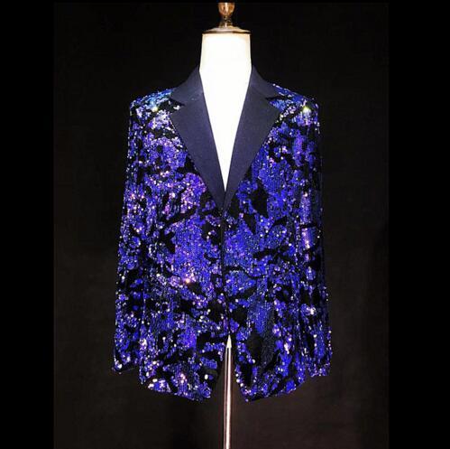 S-4XL בהיר כחול פאייטים Slim טרנדי חליפת מעיל גברים מופע הזמר בלייזר בגדי בר מועדון לילה מסיבת יום הולדת ללבוש מעיל