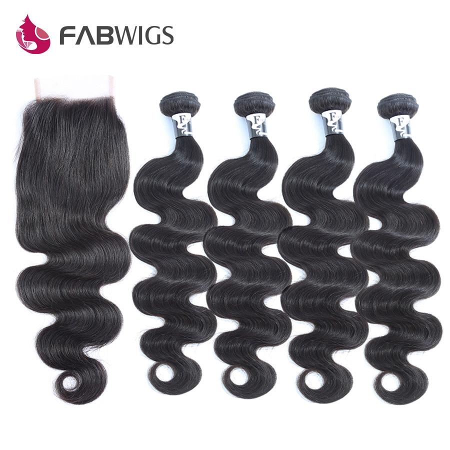 Fabwigs 4 Bundles Human Hair Bundles with Closure 5pcs lot Brazilian Body Wave Part Lace Remy Hair Weave