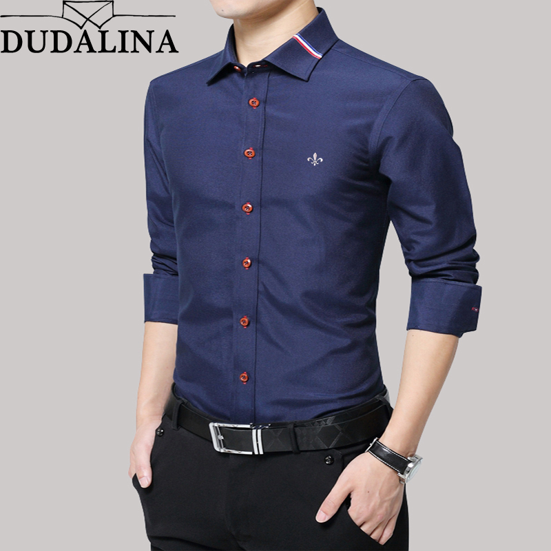 Dudalina Shirt Men Oxford 2020 Long Sleeve Male Shirt Casual High Quality Business Man Shirts Slim Fit Designer Dress
