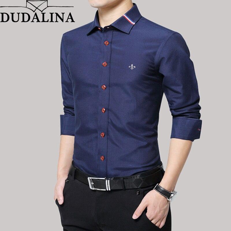 Dudalina chemise hommes Oxford 2019 à manches longues homme chemise décontracté qualité affaires homme chemises Slim Fit robe de Designer