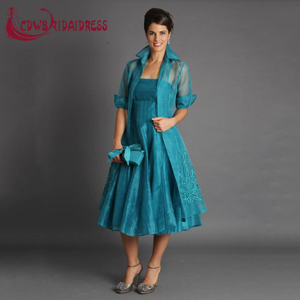 Teal Mother of the Bride Dresses Tea Length with Jacket – fashion ...