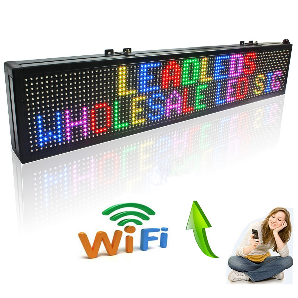 40inch WIFI Full Color 7 color RGB SMD LED Signs Remote Storefront Message Board,Open Sign Programmable Scrolling Display screen-in LED Displays from Electronic Components & Supplies    1
