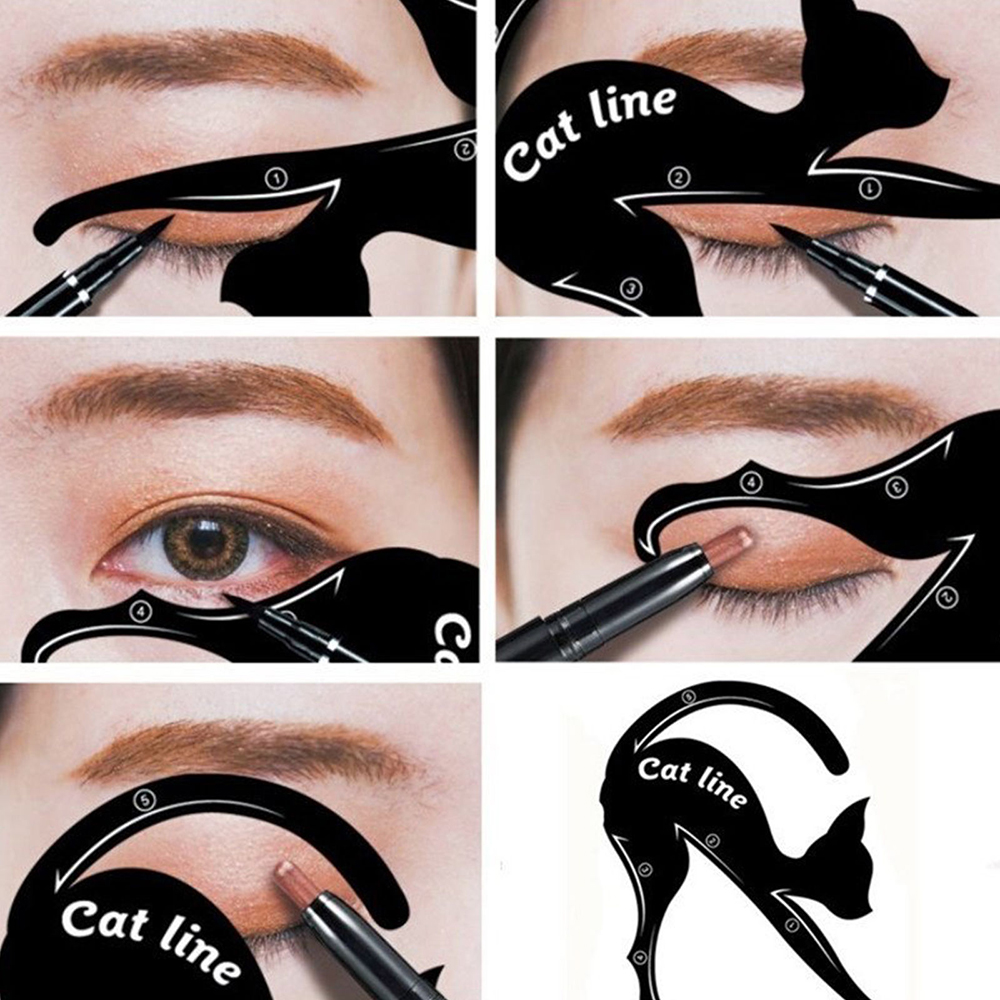 2pcs=1Pair Multifunction Cat Eye Line Stencil Eyeliner Template Models Shaper PVC Cat Design Makeup Beauty Tools