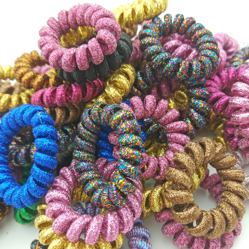 Lot 50Pcs Size 4CM Fabric Telephone Wire Hair Band Wrapped Cloth Ponytail Holder Elastic Phone Cord Line Hair Tie Accessories