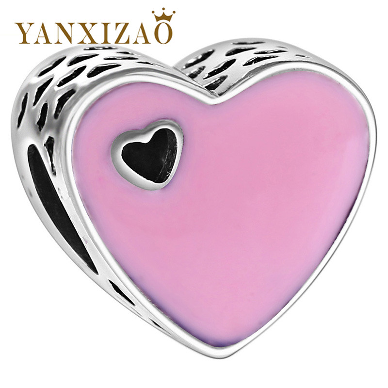 Yanxizao 2018 Silver 925 CZ Beads Fit Pandora Pink Heart Hollow Out Original Charm Bracelet Pendant Necklace Women Jewelry GW122