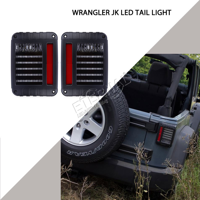 free shipping US/EU edition reverse brake turn signal LED rear tail light for off road wrangler JK 07-16 stop brake turn light us version led tail light for jeep wrangler jk brake reverse turn singal lamp back up rear parking stop light daytime