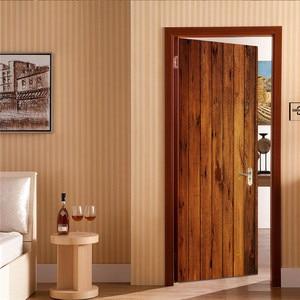 Image 3 - 2pcs/set Wood Door Wall Stickers Bedroom Home Decoration Poster PVC Waterproof Door Stickers Imitation 3D Decal
