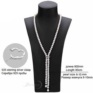 Image 5 - 900mm vintage real long pearl necklace women,girls jewelry 925 silver natural bridal freshwater white pearl necklaces mother