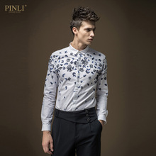 Free shipping New male casual fashion Men's Britain pattern micro collar long sleeved self-cultivation shirt B16311034 On Sale