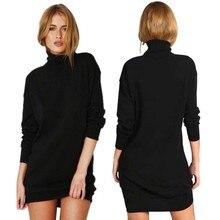 Фотография Hot Product Autumn Winter Warm Stretch Dresses Long Sleeve Knit BodyCon Slim Sweater Dress Black Fashion V2 A7