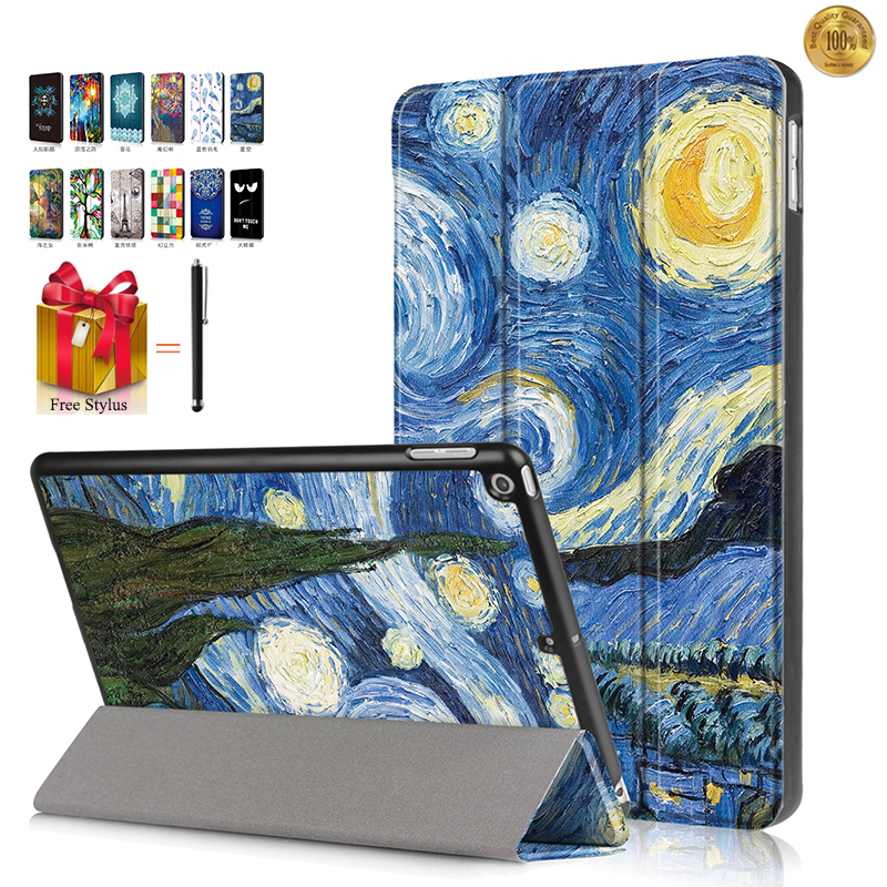 3in1 Case For iPad 9.7 2017 2018 inch A1822 A1823 A1893 Painting Series PU Leather Stand Smart Flip Cover screen film +Stylus