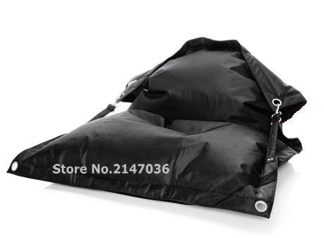 Outdoor BLACK Color Buggle Up Bean Bags, Living Room Beanbag With Belts, Eyelets Design Bean Bag Pillows