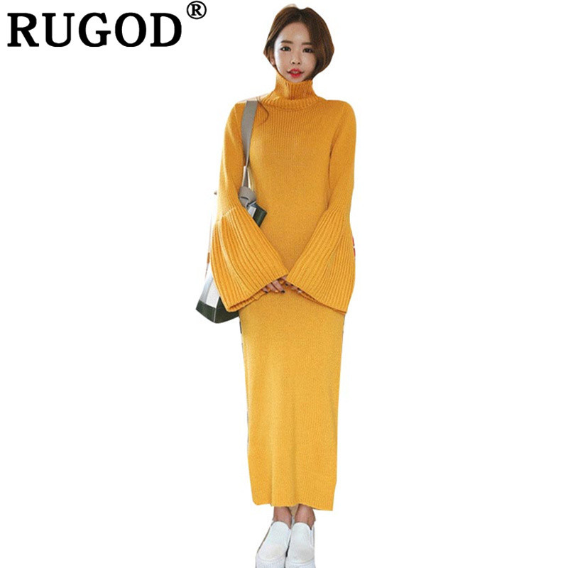 RUGOD Casual Turtleneck Long Female Sweater Dress Flare Sleeve Solid Pullover Jumpers Knit Dresses Women Split Bodycon Dress