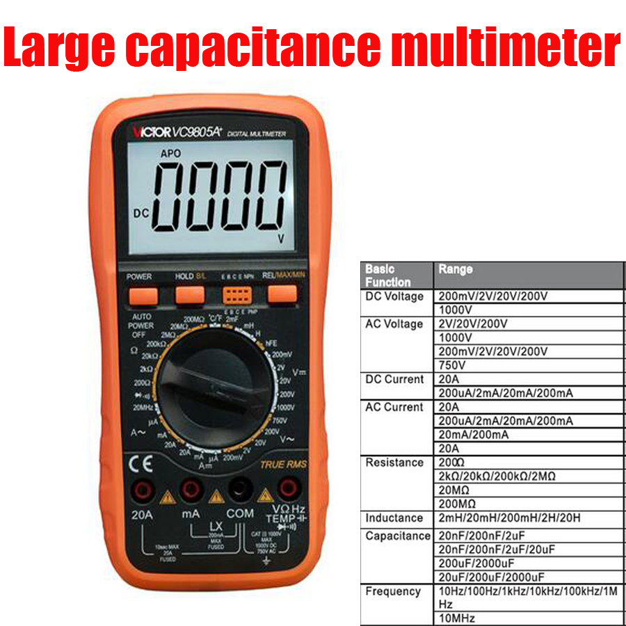 ФОТО VC9805A+ Digital Multimeter Display digits: 3 1/2 bits  True RMS Manual Range Resistance Capacitance Inductance Frequency