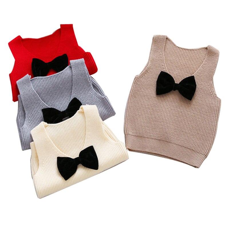 Autumn Girls Boys Kids Baby Infants Sleeveless Bow Vest Outwear Pullover Knitwear Kintting Sweater Waistcoat Camisola MT1287