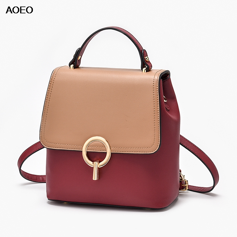 AOEO Women Backpack Shoulder Bag School Waterproof Girl Split Leather Small Travel Bags Female Mini Korean