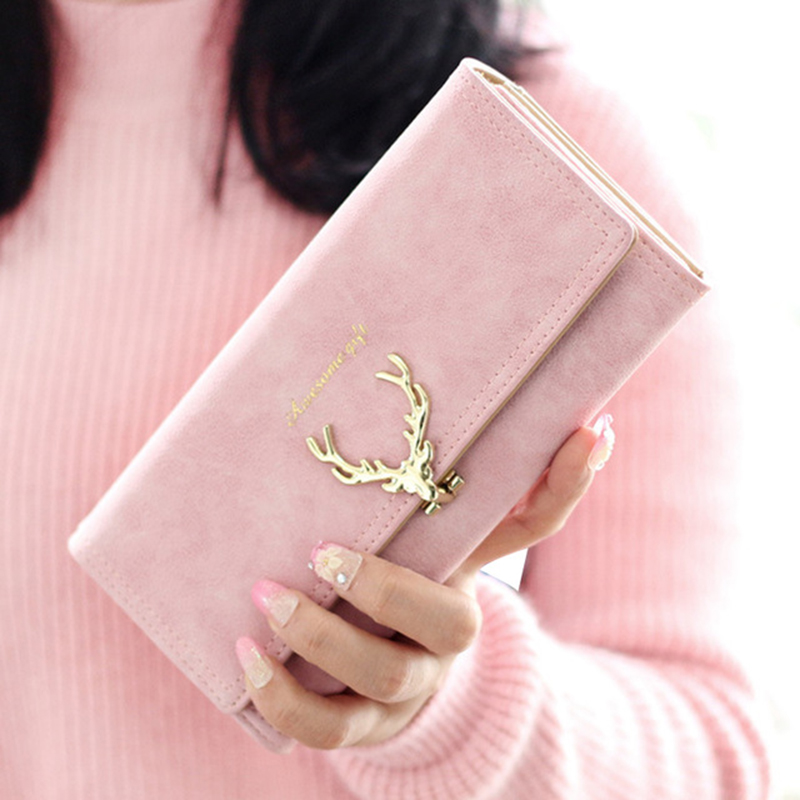 2017 Nova Moda Feminina Carteira Mulheres Bolsa Carteiras de Longo Zíper Doce Cor Sólida de Metal Veados Natal PU Titulares de Cartão de Marca