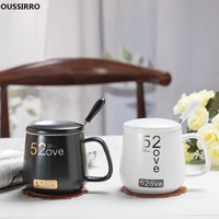 OUSSIRRO A pair Black and White Lovers Ceramics Mug Coffee Mug Mr and Mrs Tea Milk Cup Creative Wedding Anniversary Gift