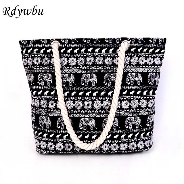 6554c3182f2ba5 Rdywbu ANIMAL ELEPHANT PRINTED CANVAS TOTE BAG- Women Casual Travel  Shopping Shoulder Bag Big Capacity Rope Beach Handbag B64005