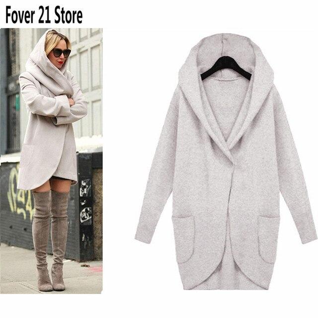 Женщины основные пальто 2016 пальто женский пиджак осень с длинным рукавом зимние куртки для женщин ветровка женщин 4 цвета с капюшоном