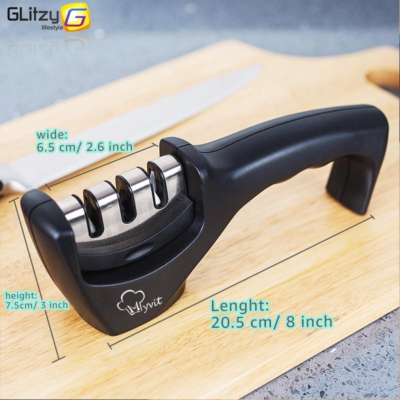Knife Sharpener 3 Stages Professional Kitchen Sharpening Stone Grinder knives Whetstone Tungsten Diamond Ceramic Sharpener Tool 4