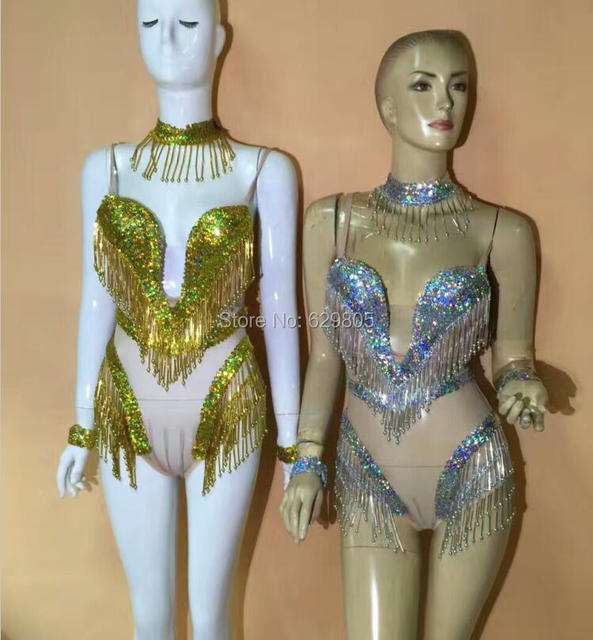 Lentejuelas brillantes del rhinestone sexy body borla bikini traje de desgaste de la danza espumoso party dress clubwear leotardo vestuario teatral