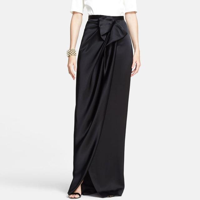ab712baee Diseño único negro Falda larga elegante arco calle estilo Hippie cremallera  Invisible Maxi faldas para mujer
