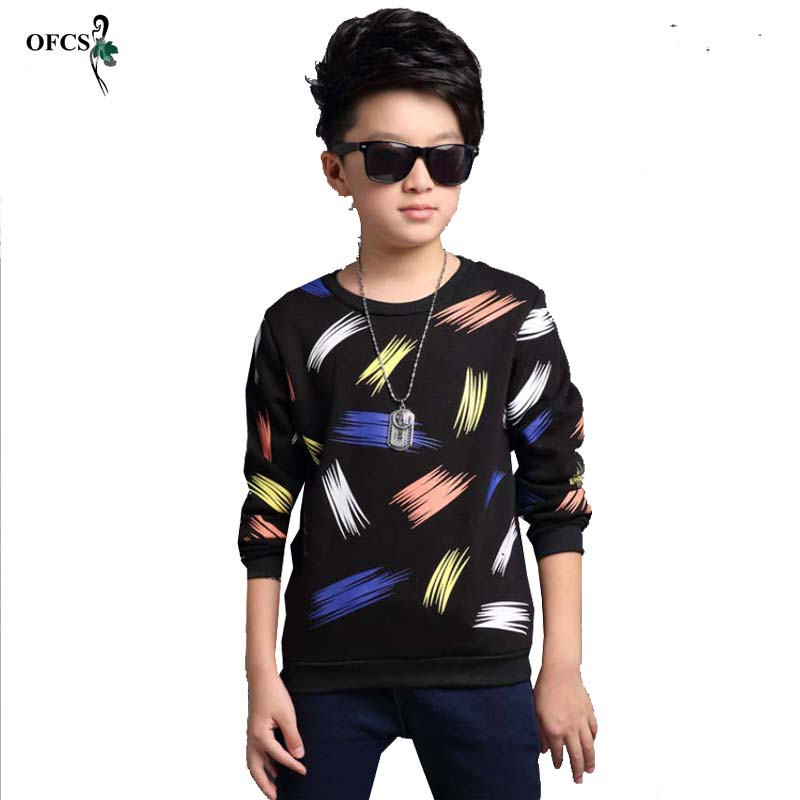 OFCS SIZE 5-15 T New Design Patterns Boys t shirt Long Sleeve Brand Children's Tops Cotton Kids Sweater Best-Selling Clothing