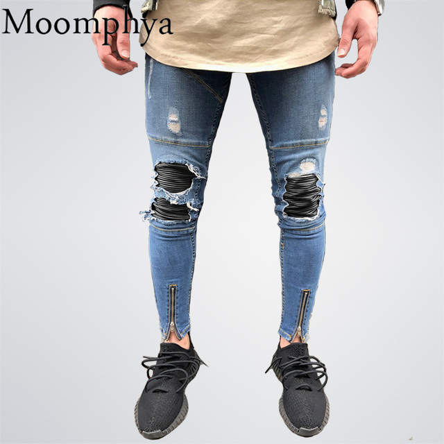 900c78f091a Moomphya 2018 Skinny Jeans Men Biker Jeans Pencil Pant Mens Zipper Ripped Jeans  for Men