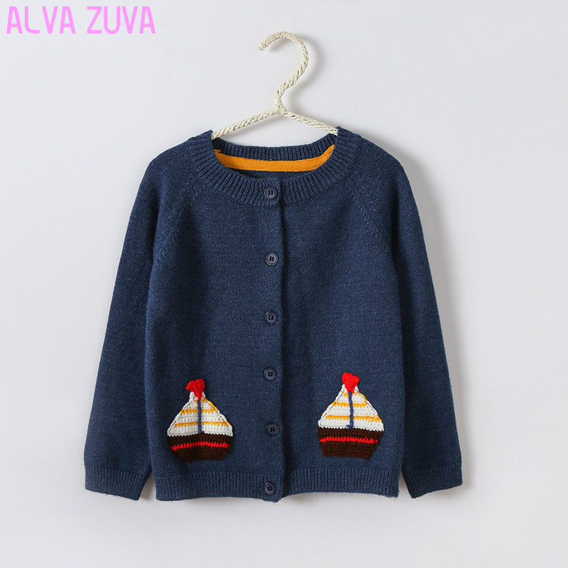 ALVA ZUVA Spring/Autumn Children Cardigan Sweater Cartoon Pattern Baby Boy Girl Knitted Cashmere Sweaters Cyy040 geometric pattern irregular front fly cardigan